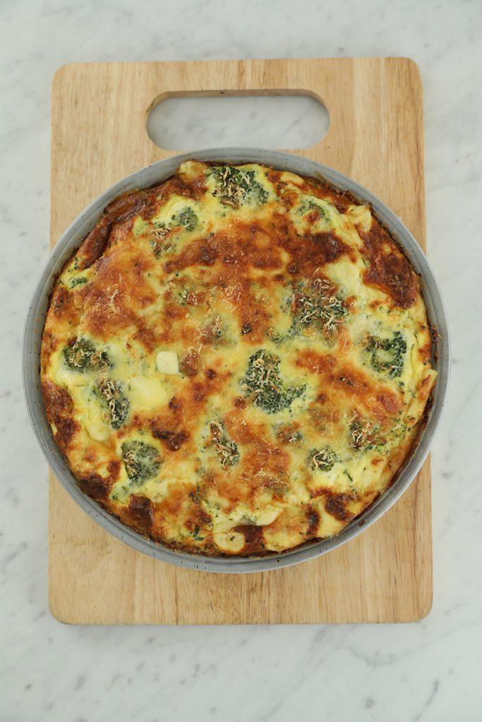 Frittata de brocoli y queso de cabra