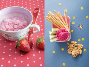 Dip y arroz con leche rosa