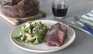 Bife marinado con vino