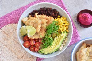 Taco bowls de merluza